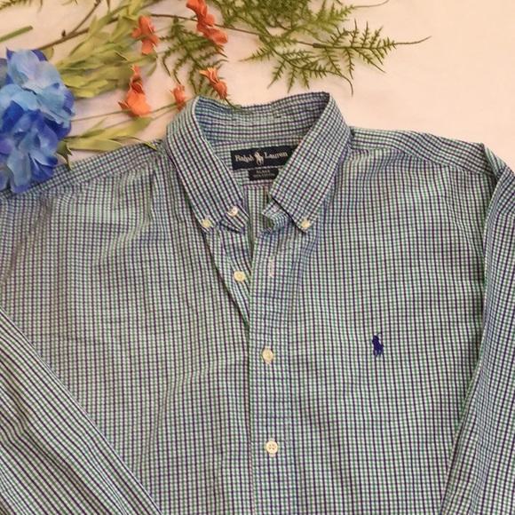 Ralph Lauren Mens LS Green Blue White Plaid Classic Fit Stretch Shirt XL NWT